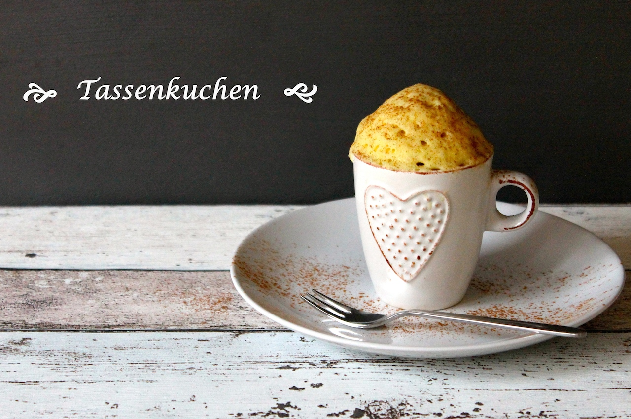 Blitzschnell fertig: Kuchen mit Vanillearoma in  der Tasse gebacken.