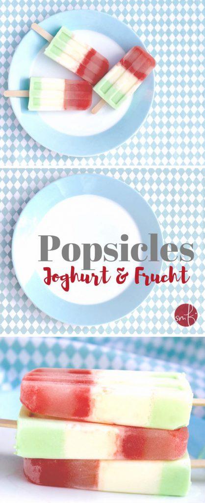Fruchtige Popsicles mit Joghurt, Melone & Waldmeister. So lecker!