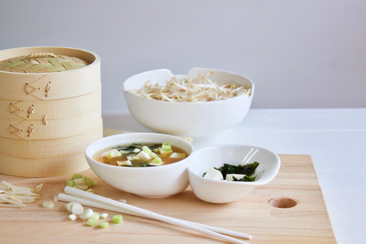 Vegetarisch: Miso Suppe mit Tofu und Gemüse