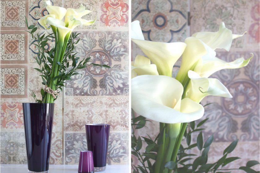 Blumendeko mit Calla und Trendfarbe Lila