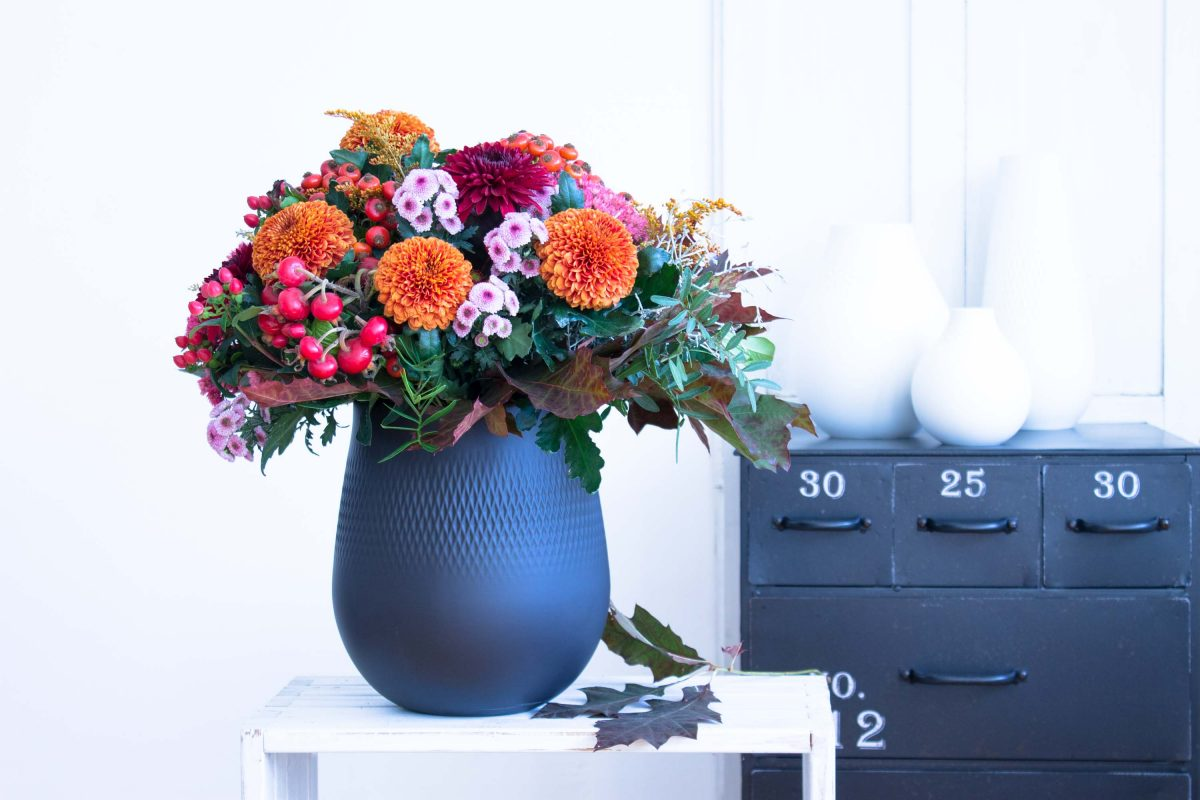 #Blumendeko im #Herbst mit Chrysanthemen