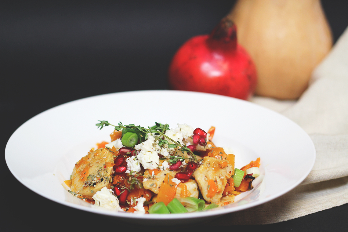 Herbstlich und lecker: #Kürbis - Hähnchen - Pfanne mit Granatapfel