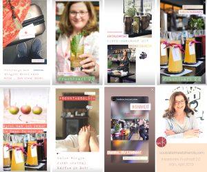 Katrin Rembold, Foodblogger. Instastories zum Event Fruchtsaft 2.0 im Bayleaf Cologne