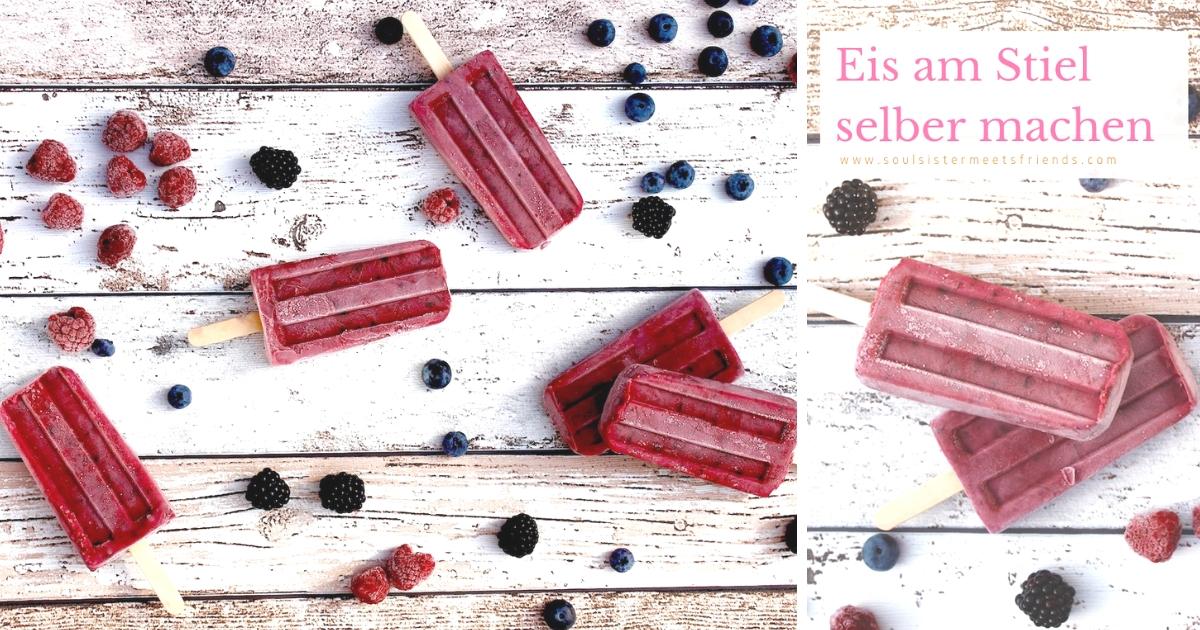 Eis am Stiel selber machen: Popsicles mit Waldbeeren