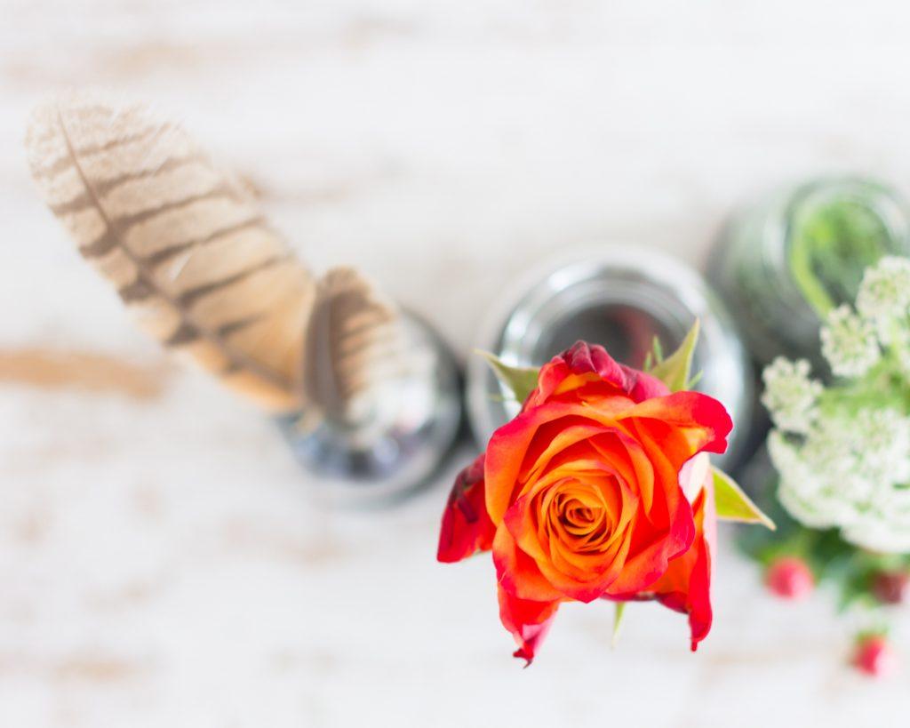 Herbstliche Tischdekoration mit Blumen, Beeren, Federn & Co.